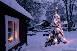 white Christmas holiday Sweden