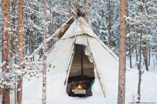 Tipi tent in the woods